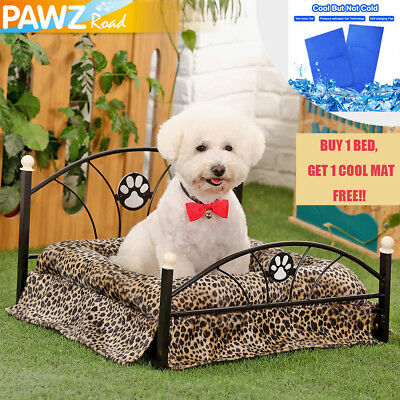 Pet Dog Raised Bed Metal Frame Crate Cat Cushion Stable Bed Summer Cooling Mat