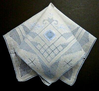 Vintage Swiss Embroidery Hanky Intricate Blue Mosaic Work & Lace Inserts Wedding