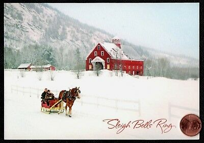 Christmas Horse Sleigh Farm House Mountains Snowing  Christmas Greeting Card NEW