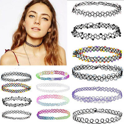 12PCS Vintage Stretch Tattoo Choker Necklace Punk Retro Gothic Elastic Pendants