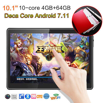 HD 10.1 inch Android 7 4G + 64G Super Deca-Core Tablet Dual 3G SIM Phablet Gift