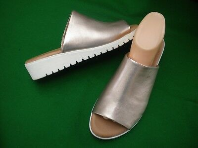 Ladies  New Django&juliette Rose Pewter  Leather Slip On Wedge  Shoes Size 9/40