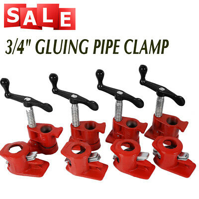 """3/4"""" GLUING PIPE CLAMP 4 SETS WOODWORKING VICE HAND TOOLS Tube Clamp Cast AU"""