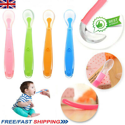 UK Baby Feeding Spoon Heat Resistant Silicone Soft Safety Flatware Gift For Kids