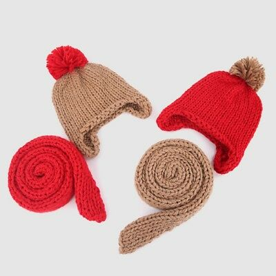 Baby Toddler Boys Girls Warm Knit Hat Scarf Fluffy Pompon Breathable One Size
