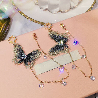 Fashion Jewelry Embroidery Butterfly Crystal Tassel Drop Dangle Earrings Chain