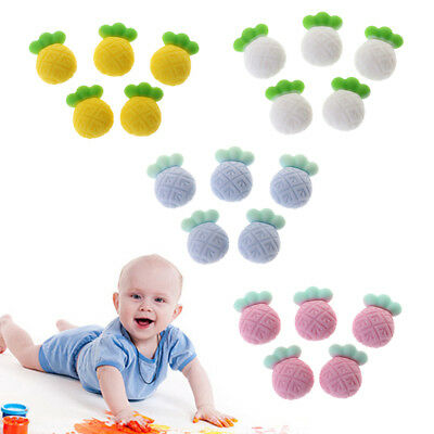 5PC Silicone Bead Baby Teether Pacifier DIY Jewelry Cute Pineapple Teething Toy
