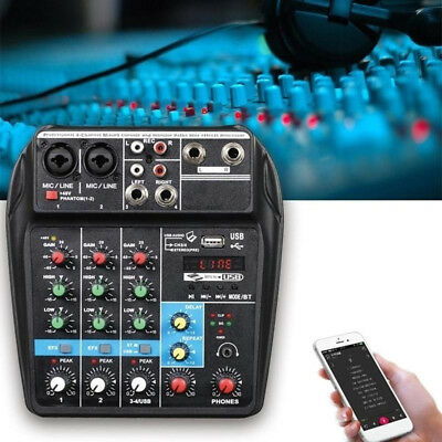 TU04 BT Sound Mixing Console Record 48V 4 Channel Stage Audio Mixer Plus Effect