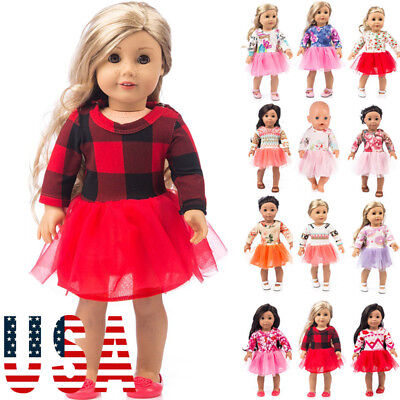 US Stock Doll Clothes Dress Outfits Pajames For 18 inch Xmas Dress Shoes