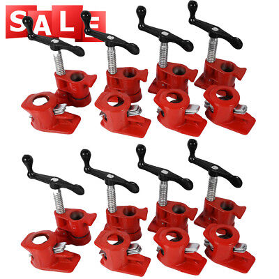 """3/4"""" GLUING PIPE CLAMP 8 SETS WOODWORKING VICE HAND TOOLS Tube Clamp Cast AU"""