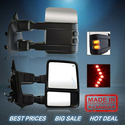 Fit 99-07 Ford F250-F550 Smoked Power Heated Signal Tow Mirror Arrow Lights Pair