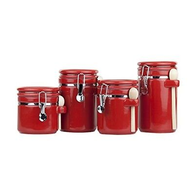Ceramic Canister Set With Wooden Spoon Home Basic 4 Piece Red