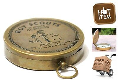 Authentic Vintage Style Brass Pocket Compass American Boy Scout Nautical Retro