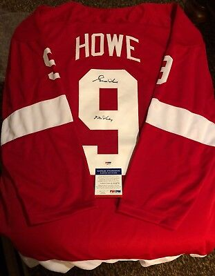 "7b835316b Gordie Howe Signed Detroit Red Wings Jersey Xl Inscribed ""Mr Hockey"" Psa dna"