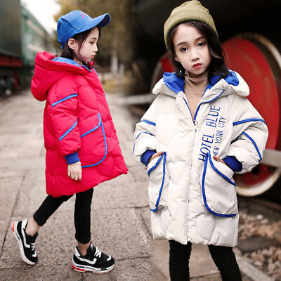 New Fashion Kids Long Warm Thick Cotton Padded Parka Coat Outwear Winter Cloth