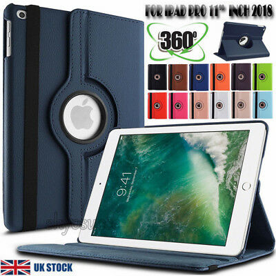 """UK Leather 360 Degree Rotating Smart Stand Case Cover for iPad Pro 11"""" inch 2018"""