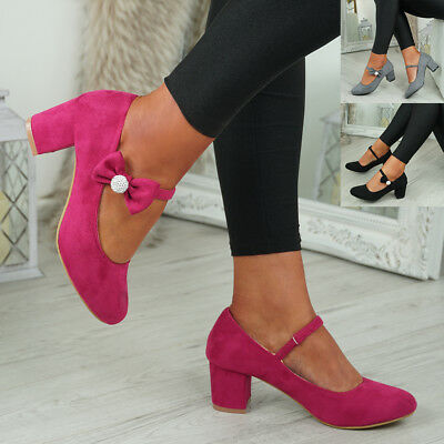 New Womens Block Heel Pumps Bow Buckle Strap Rounded Toe Casual Shoes Size