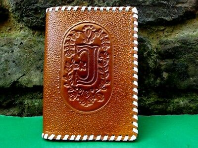 """USSR Soviet Estonia Real Leather Passport Cover """"J"""" Initial Stamping 1977 (New)"""