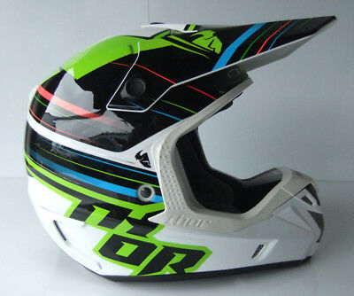 THOR VERGE TWIST FIBREGLASS ADULT BLACK MED 58cm HELMET MOTOCROSS ACU GOLD KXF