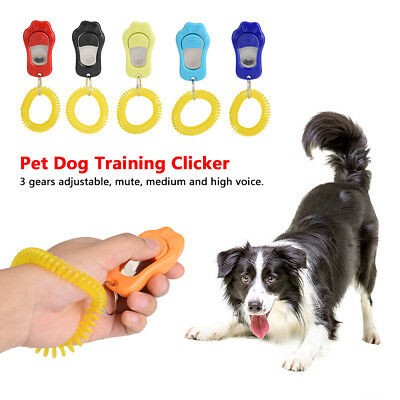 Pet Training Obedience Aid Wrist Strap Dog Bird Cat Horse Button Click Clicker
