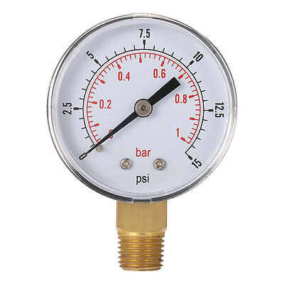 Mini Low Pressure Gauge For Fuel Air Oil Or Water 50mm 0-15 PSI 0-1 Bar AWV
