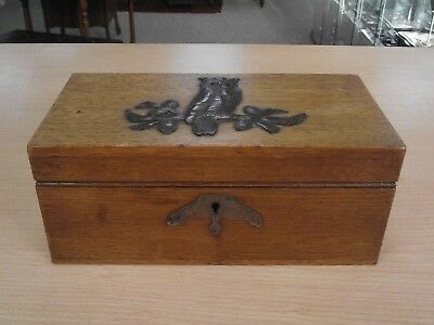 Beautiful Antique Arts & Crafts Oak Box With Copper Owl On Lid