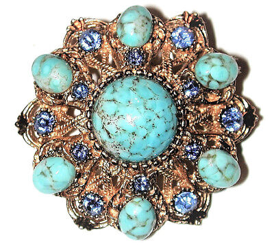 Vintage Turquoise Cabochons Blue Topaz Crystals Gilded Gold Pin Brooch Sphinx