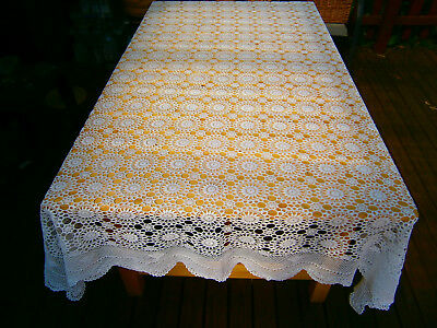 Vintage Tablecloth / Bedspread Crochet Lace Cotton Handmade White Rectangle