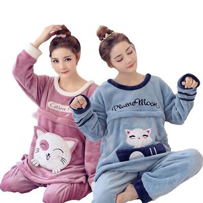 Maternity Homewear Pajamas Flannel Soft Autumn Winter Warm Invisible Zipper