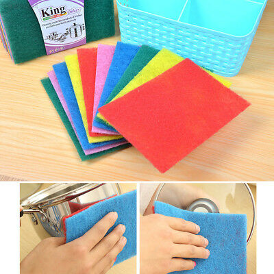 EB3D 10pcs Scouring Pads Cleaning Cloth Dish Towel Colorful Kitchen Home Scrub