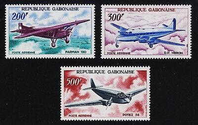 GABON C50, C51 and C52 Mint Hinged 1967 AIRPLANES Complete Set of 3 SCV $21.50