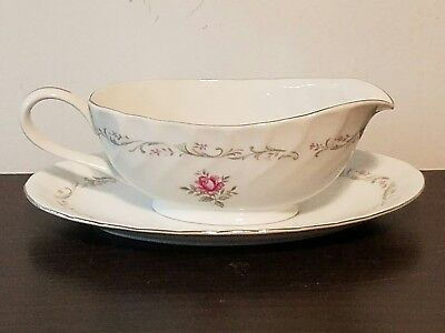 Fine China Of Japan ROYAL SWIRL Gravy Boat & Unattached Under Plate