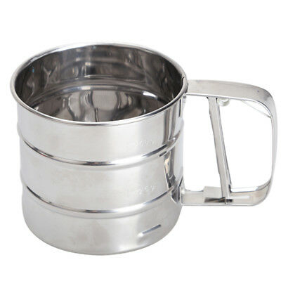 Stainless Steel Mesh Flour Sifter Mechanical Baking Icing Sugar Shaker Siev V9F1