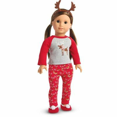 American Girl Festive Reindeer Pajamas PJ's New In A Truly Me Box