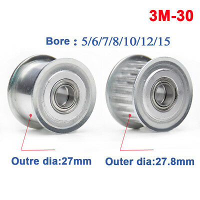 Timing Belt Pulley 3M30T Synchronous Wheel Bore 5-15mm For 10/15mm Width Belt