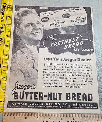 Old 1937 Ad Advertising Jaeger's Butter Nut Bread Milwaukee WI