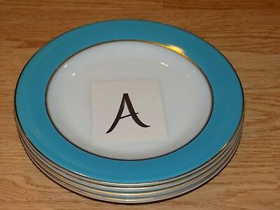 "4 Vtg Pyrex Robins Egg Blue/turquoise & Gold 8"" Salad Plates, Lot A"