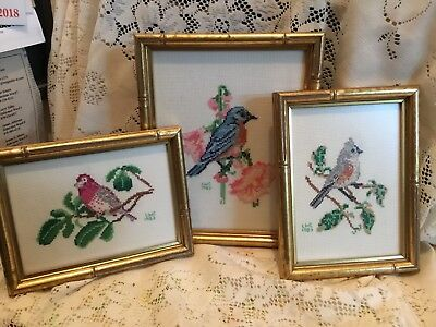 Set Of 3 - Vintage Needlepoint Framed Bird Pictures