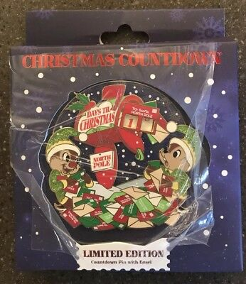 Disney Parks Christmas Countdown Chip & Dale Mini Jumbo Pin LE In Hand