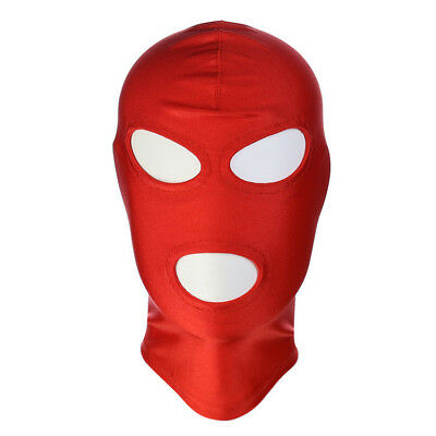 Red Spandex Wet look Latex Mask fancy dress Hood, Spandex Gimp mask Size M
