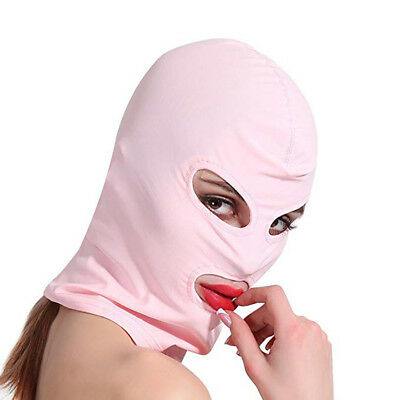 Pink Spandex Wet look Mask fancy dress Hood, Spandex eyes and mouth... Size M