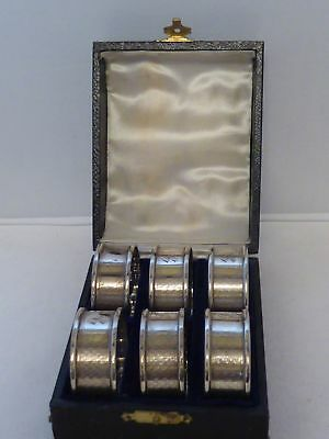 Boxed Set 6 1934 Art Deco Hallmarked Solid Silver Napkin Rings Serviette Ring