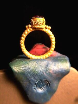 Ancient Carnelian Intaglio Long Horn Ram Signet Solid 22K Gold Medieval Ring