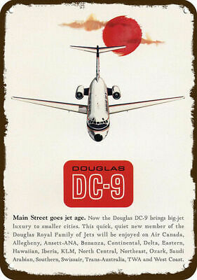 1965 DOUGLAS DC-9 JET Vintage Look REPLICA METAL SIGN -DELTA - TWA - CONTINENTAL