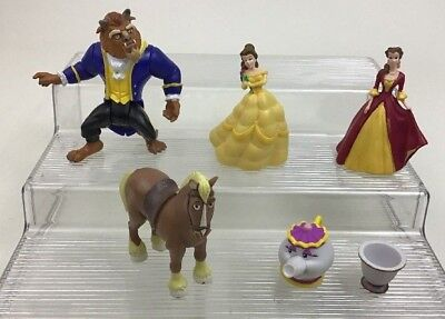 Beauty and The Beast Lot 6pc Toy Figures Cake Toppers Disney Princess Belle A2