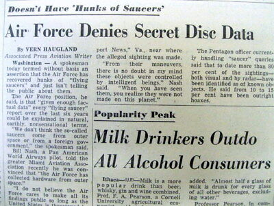 <1954 newspaper US Air Force denies covering up finding of UFO or FLYING SAUCERS