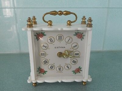 Vintage Estyma Miniature Carriage Alarm Clock - Germany - Working