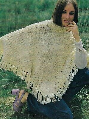Ladies Aran Cable Poncho Knitting Pattern With Fringe One Size 1162