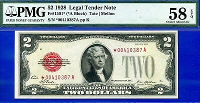 *Rare FR-1501* 1928 $2 US Note (( STAR )) PMG About-UNC 58EPQ # *00410387A