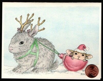 Christmas House Mouse  Bunny Rabbit Antlers Ornaments - Christmas Greeting Card